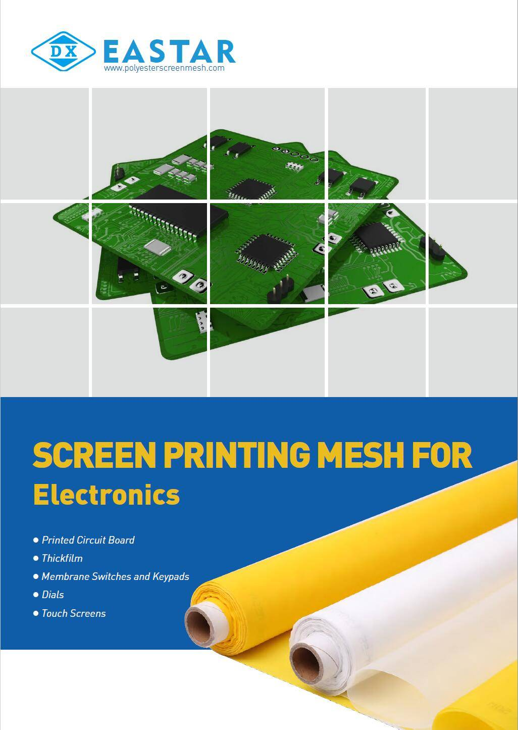 Polyester screen printing mesh for electronics screen printing.