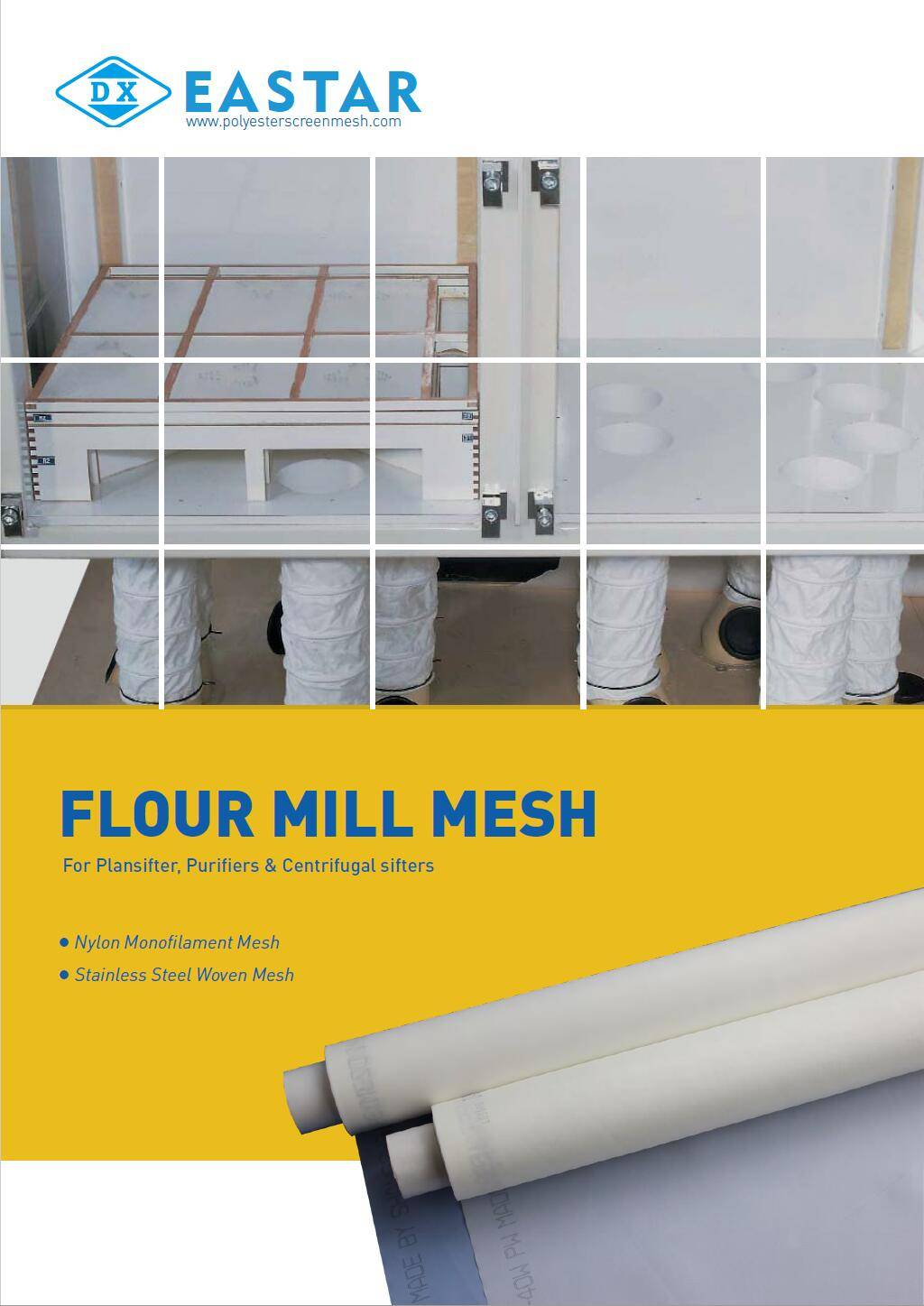 A Plansifter and several layers of nylon flour mill mesh in it.