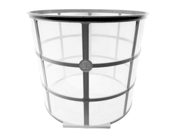 A piece of nylon filter mesh basket on white background.