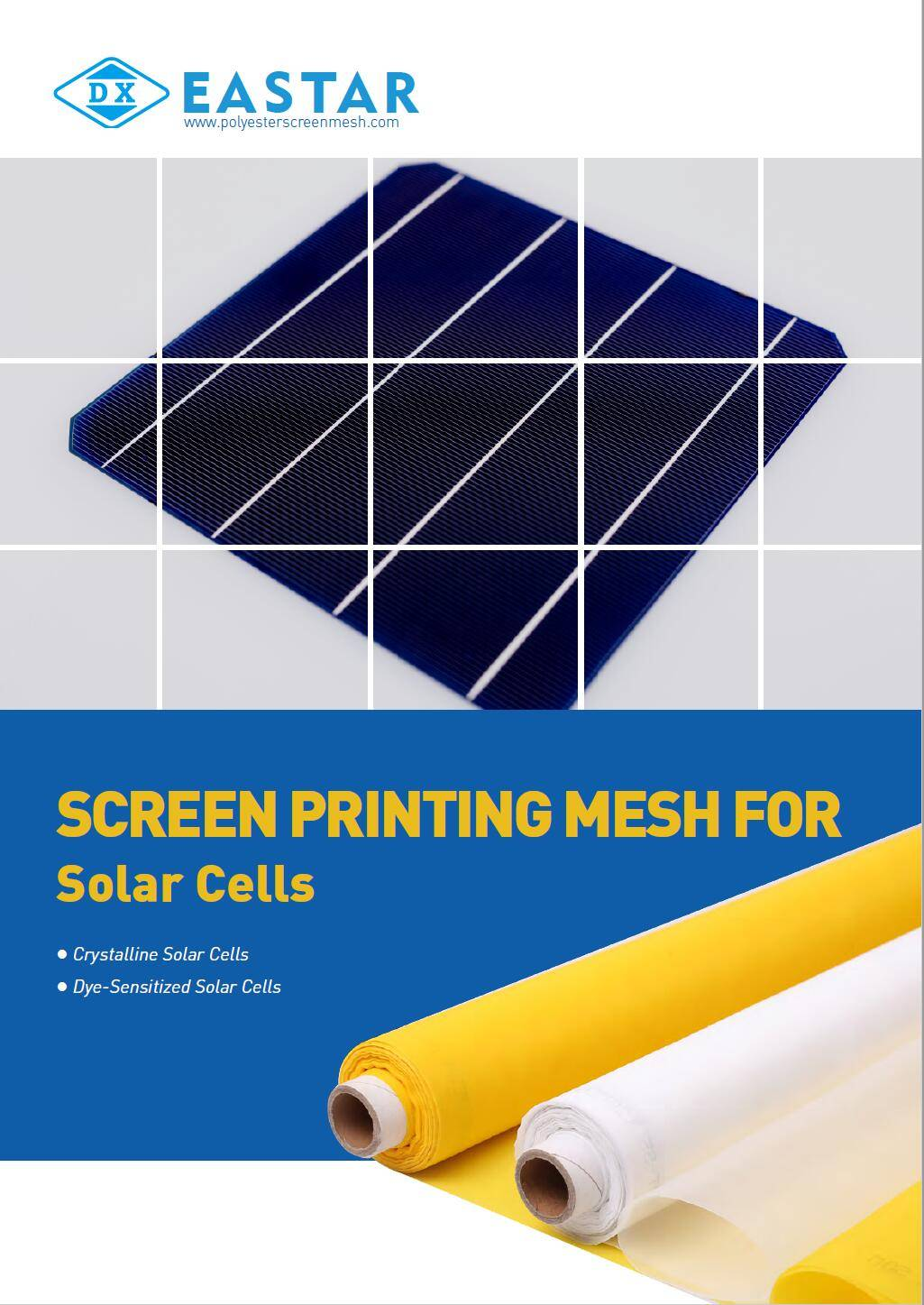 Polyester screen printing mesh for solar cell screen printing.