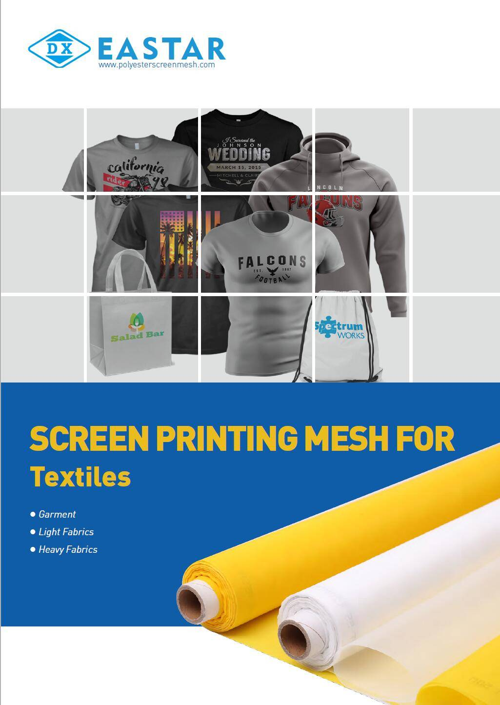 Polyester screen printing mesh for textile screen printing.