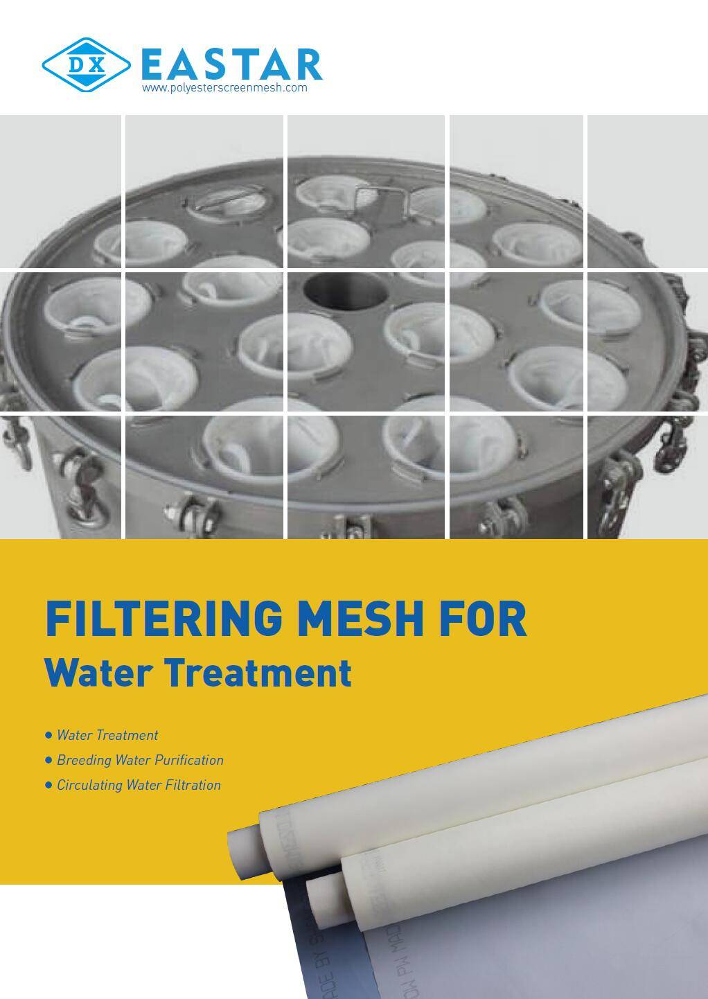 Nylon, polyester and stainless steel mesh for water treatment and filtering.